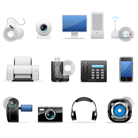 Computers and electronics icons stock vector clipart, Vector illustration of computers and electronics icons by Vladimir Gladcov