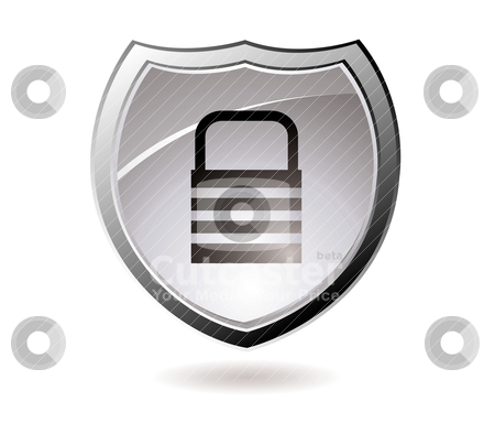 Secure shield stock vector clipart, Web security icon shield with silver trim and padlock by Michael Travers