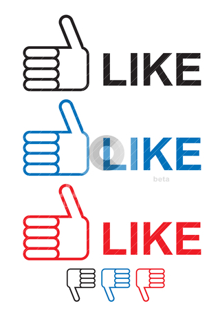 Thumbs up like stock vector clipart, thumbs up like icon with hand and fingers in red blue and black by Michael Travers