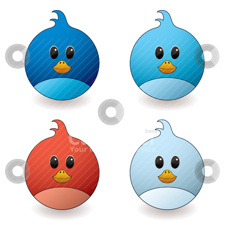 Twit bird stock vector clipart, cartoon style twit bird with red and blue colour variations by Michael Travers