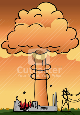Nuclear Power Plant Disaster stock vector clipart, Hydrogen explosion plume rises from a nuclear power plant  by Eric Basir