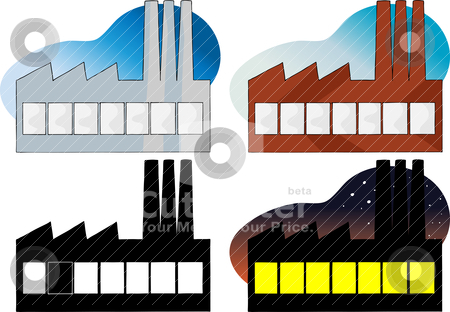 Power Plant stock vector clipart, Four variations of a side view of a factory or power plant by Eric Basir
