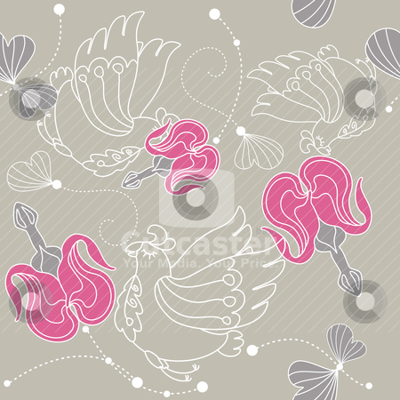 Abstract seamless floral background stock vector clipart, abstract seamless floral background with flowers and birds by SelenaMay