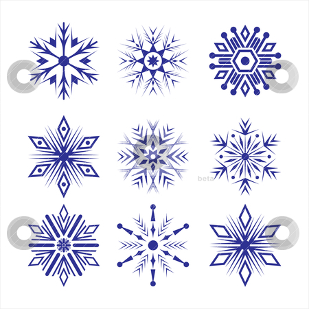 Set of snowflakes stock vector clipart, Set of different blue snowflakes by SelenaMay