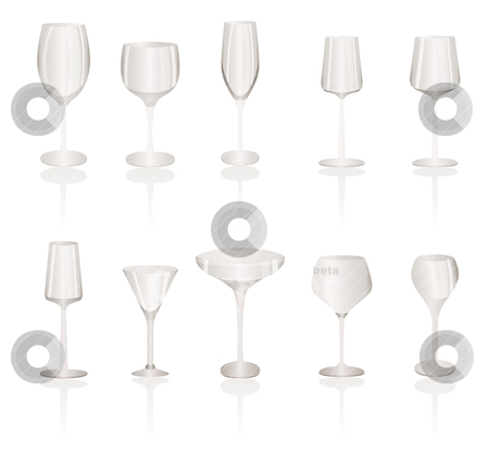 Different kind of Wine Glasses stock vector