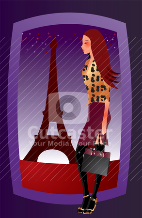 Fashion sexy girl in Paris  stock vector clipart, fashion sexy girl in Paris - vector illustration by Stoyan Haytov