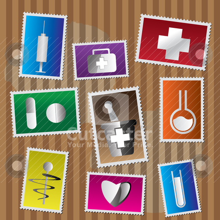 Medical and healtcare Icons - postage stamp  stock vector clipart, Medical and healtcare Icons - postage stamp - vector icon set by Stoyan Haytov