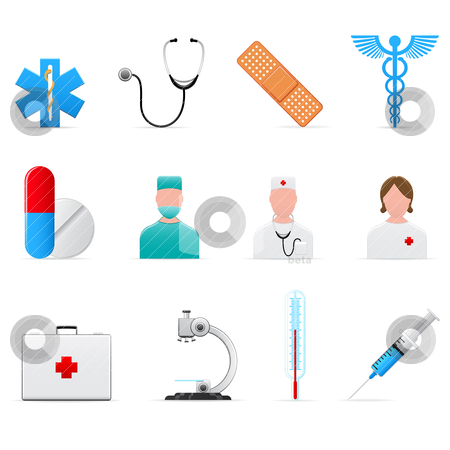 Medical icons  stock vector clipart, Set of 12 vector medical icons isolated on white by Vladimir Gladcov