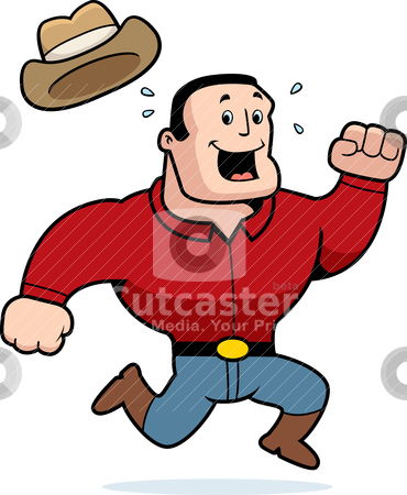 Cowboy Running stock vector clipart, A happy cartoon cowboy running and smiling. by cthoman
