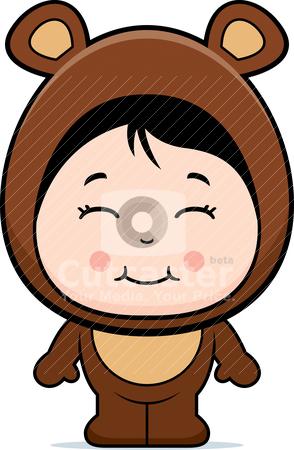 Bear Girl stock vector clipart, A happy cartoon girl in a bear costume. by cthoman