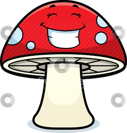 Magic Mushroom Smiling stock vector clipart, A cartoon magic mushroom happy and smiling. by cthoman