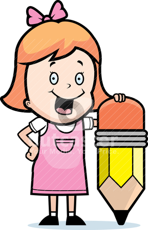 Girl Pencil stock vector clipart, A happy cartoon girl with a pencil. by cthoman