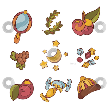 Set of fairytale things stock vector clipart, vector illustration set of different fairytale things by SelenaMay