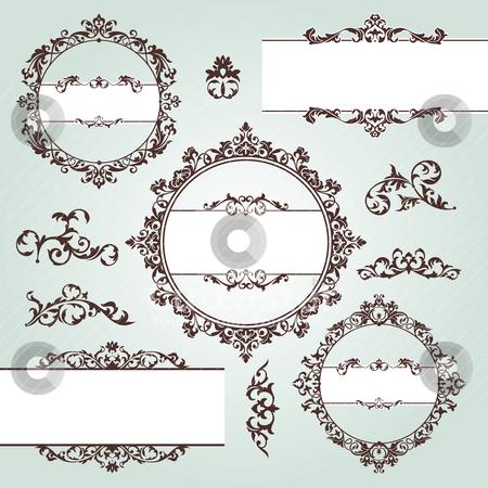 Vintage design elements stock vector clipart, set of vector floral vintage design elements by SelenaMay