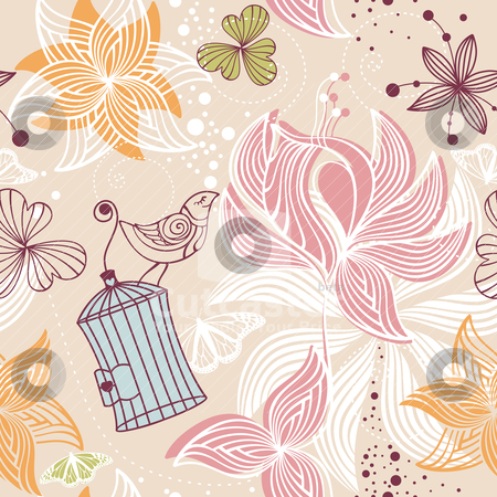 Seamless cute floral background stock vector clipart, abstract seamless cute floral background vector illustration by SelenaMay