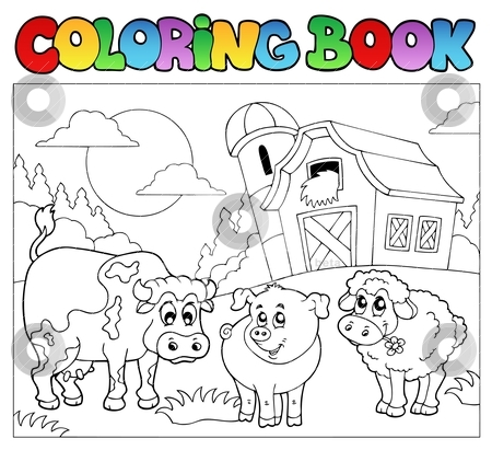 Coloring book with farm animals 3 stock vector
