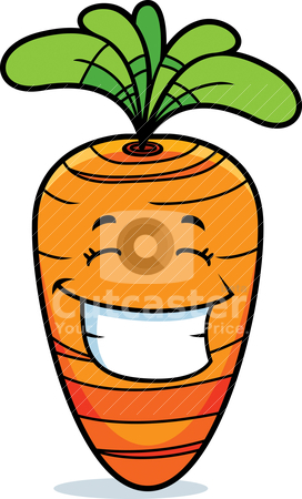 Carrot Smiling stock vector clipart, A cartoon orange carrot happy and smiling. by cthoman