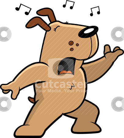 Dog Singing stock vector clipart, A cartoon dog standing and singing a song. by cthoman