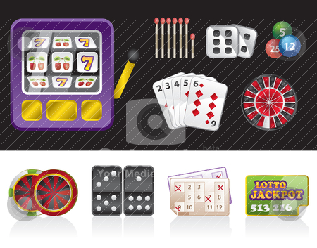 Casino and gambling tools icons  stock vector clipart, casino and gambling tools icons - vector icon set by Stoyan Haytov