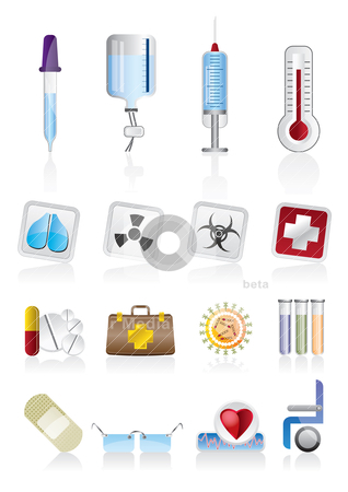 Collection of  medical themed icons and warning-signs stock vector clipart, collection of  medical themed icons and warning-signs - vector icon set by Stoyan Haytov