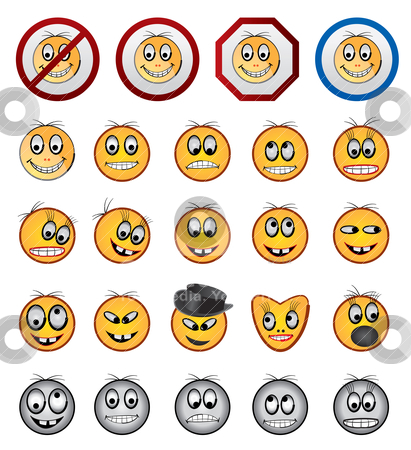 Different kinds of Smiling faces icons  stock vector clipart, different kinds of Smiling faces icons - vector icon set by Stoyan Haytov
