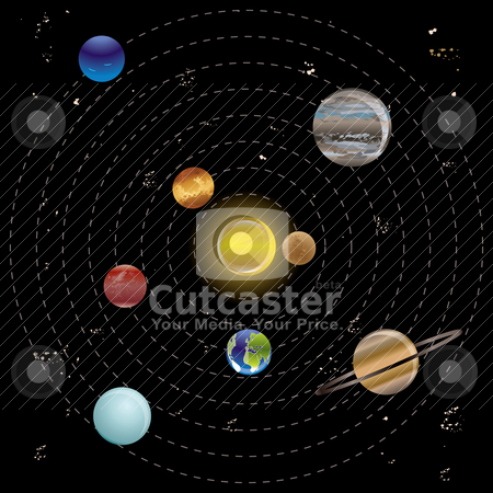 Planets and sun from our solar system stock vector clipart, Planets and sun from our solar system. Vector illustration by Stoyan Haytov