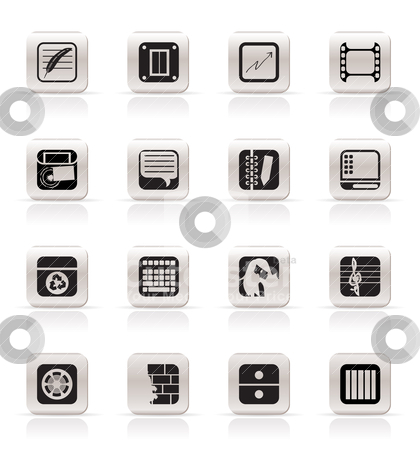 Simple Business, Office and Mobile phone icons  stock vector clipart, Simple Business, Office and Mobile phone icons - Vector Icon Set by Stoyan Haytov