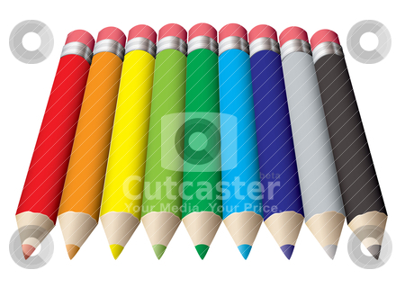 Pencil collection colored stock vector clipart, Rainbow collection of colored pencils with rubber erasers by Michael Travers