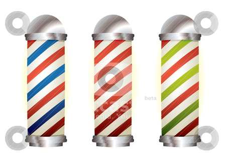 Collection barbers pole stock vector clipart, Different stripe barbers poles with silver elements by Michael Travers