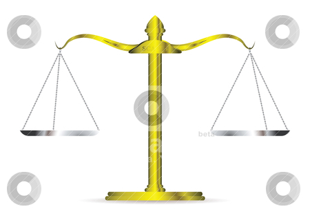 Golden scales stock vector clipart, Metal golden scales of justice and silver chains and tray by Michael Travers