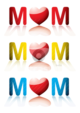 Love mum collection stock vector clipart, collection of three love mom icons for mothers day by Michael Travers