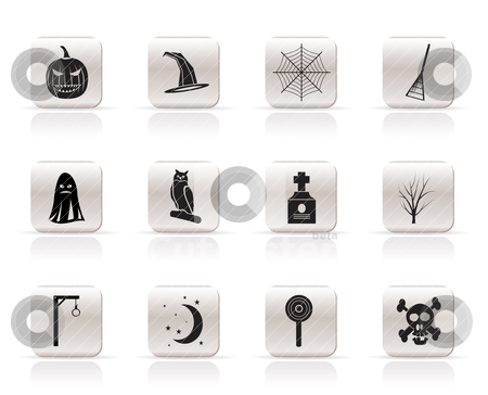 Simple halloween icon pack  with bat, pumpkin, witch, ghost, hat  stock vector clipart, Simple halloween icon pack  with bat, pumpkin, witch, ghost, hat - vector icon set by Stoyan Haytov