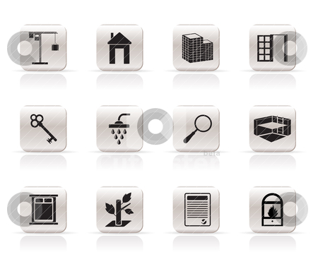 Simple Real Estate icons stock vector clipart, Simple Real Estate icons - Vector Icon Set by Stoyan Haytov
