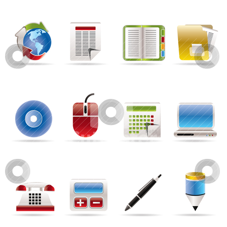 Business and Office tools icons stock vector clipart, Business and Office tools icons -  vector icon set 2 by Stoyan Haytov