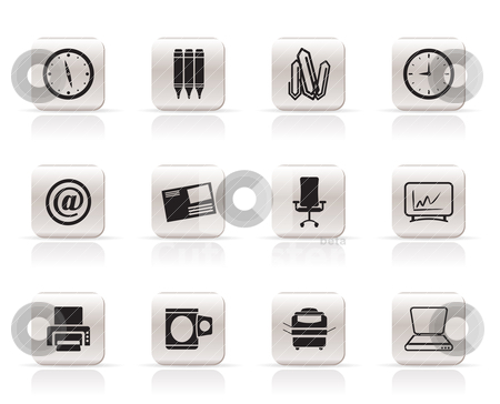 Business and Office tools icons  stock vector clipart, Business and Office tools icons  vector icon set by Stoyan Haytov