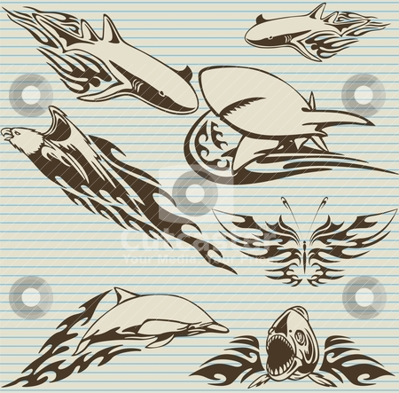 Tribal shark  stock vector clipart, tribal shark  by Eddy Sophian