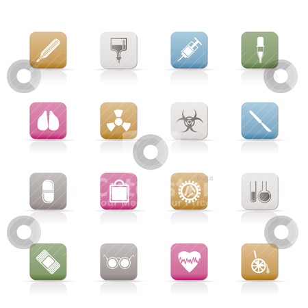 Collection of  medical themed icons and warning-signs  stock vector clipart, collection of  medical themed icons and warning-signs vector icon set by Stoyan Haytov