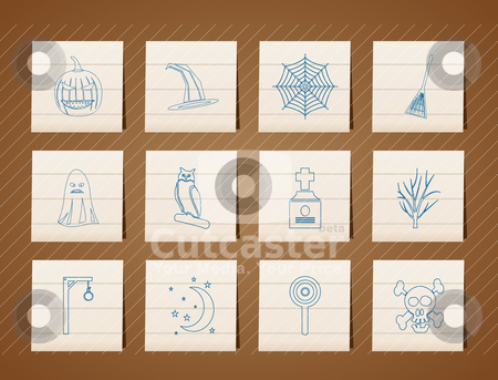 Halloween icon pack  with bat, pumpkin, witch, ghost, hat  stock vector clipart, halloween icon pack  with bat, pumpkin, witch, ghost, hat - vector icon set by Stoyan Haytov