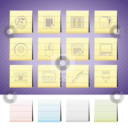Business and Office tools icons stock vector clipart, Business and Office tools icons -  vector icon set  by Stoyan Haytov
