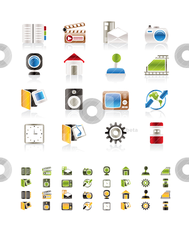 Business and Office tools icons stock vector clipart, Business and Office tools icons  vector icon set 3 by Stoyan Haytov