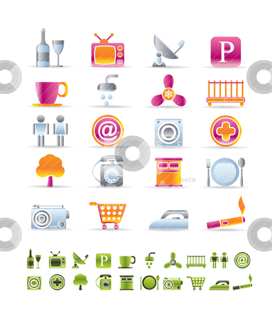 Hotel and Motel objects icons  stock vector clipart, Hotel and Motel objects icons - vector icon sets by Stoyan Haytov
