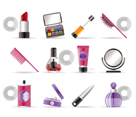 Beauty,cosmetic and make-up icons stock vector clipart, beauty,cosmetic and make-up icons - vector icon set by Stoyan Haytov