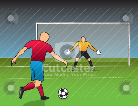 Open Shot On Goal stock vector clipart, Soccer player getting ready to shoot on goal. by Jamie Slavy