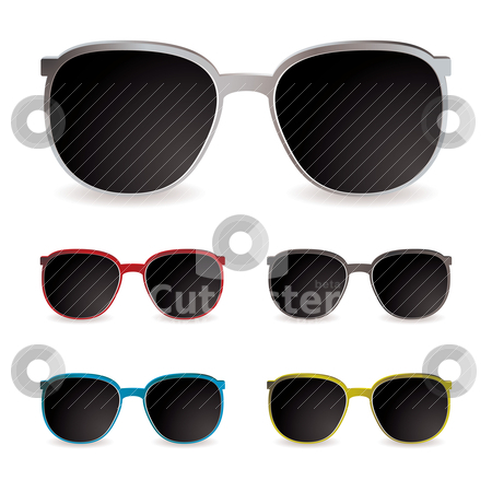 Sun glasses stock vector clipart, Collection of sun glasses with different frames and dark lenses by Michael Travers