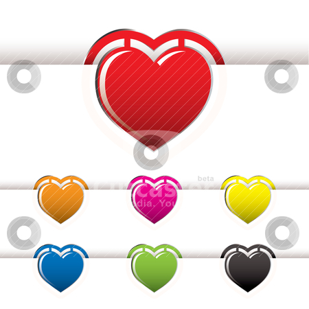 Heart book mark stock vector clipart, collection of heart shape book marks with white paper background by Michael Travers