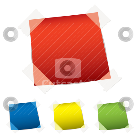 Paper tag tape stock vector clipart, Brightly colored paper notes with sticky tape on white background by Michael Travers