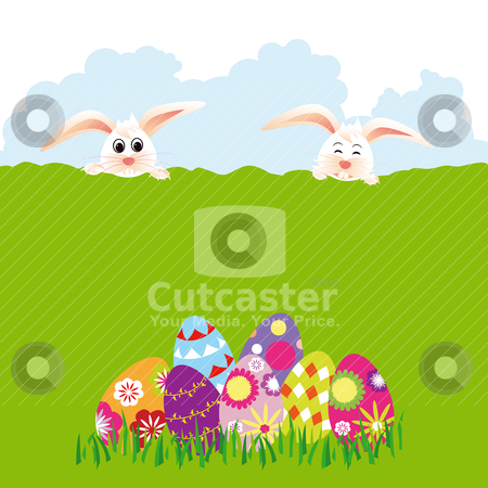 Springtime Easter holiday wallpaper stock vector clipart, Springtime Easter holiday wallpaper colorful eggs with rabbits by meikis