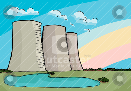 Nuclear Cooling Towers stock vector clipart, Three nuclear power plant cooling towers with rainbow and reflecting lake. by Eric Basir