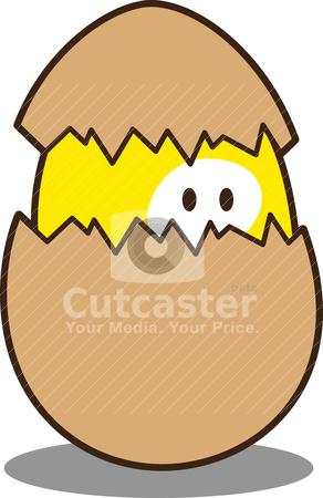 Cute little chicken stock vector clipart, cute little chicken inside shell by mhatzapa
