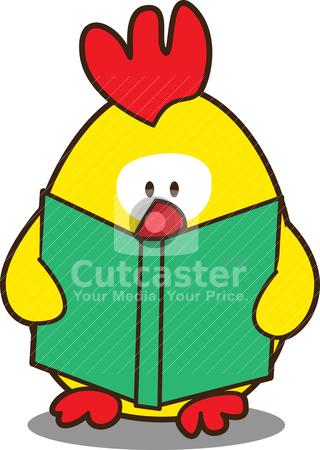 Cute little chicken stock vector clipart, cute little chicken reading a book by mhatzapa